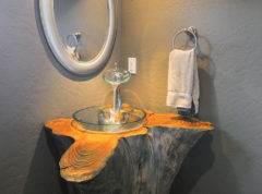 Stum timbered pedestal with floating bowl sink