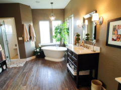 Stunning master bathroom with large porcelain soaking tub and walk in shower